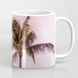 Palm Tree Photography   Landscape   Sunset Unicorn Clouds   Blush Millennial Pink   Beach Coffee Mug