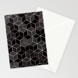 Abstract hexagons geometric sparkle pattern with gold foil pink lines and gray. Watercolor polygons. Metallic golden hexagon abstract texture on black background illustration Stationery Cards