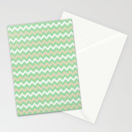 Pastel Green, Beige & Linen White Chevron Line Pattern Pairs to Noe Mint 2020 Color of the Year Stationery Cards