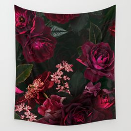 Vintage & Shabby Chic - Night Botanical Flower Roses Garden Wall Tapestry