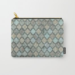 Old Moroccan Tiles Pattern Teal Beige Distressed Style Carry-All Pouch