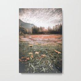 Autumn morning Sun at the green Lake in Styria Metal Print