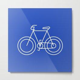 Minimalist Bike on Cerulean Blue Background Metal Print