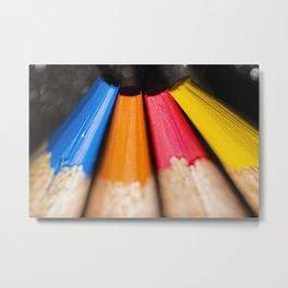 Macro photo of coloured pencils Metal Print