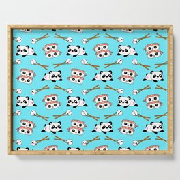 Cute funny Kawaii chibi little playful baby panda bears, happy sweet cheerful sushi with shrimp on top, rice balls and chopsticks light pastel blue pattern design. Nursery decor. Serving Tray