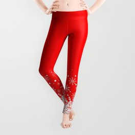 Snow Red background Leggings