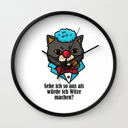 Cat Clown Halloween Sarcasm Jokes Wall Clock