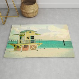 Summer Beach Lifeguard Hut Rug