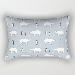 Penguin Polar Bear Pattern Rectangular Pillow