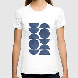 Blue navy retro scandinavian Mid century modern T-Shirt