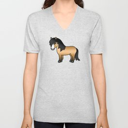 Buckskin Shetland Pony Cute Cartoon Illustration Unisex V-Neck