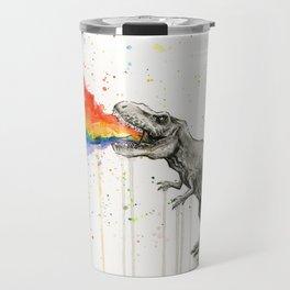 T-Rex Dinosaur Vomits Rainbow Travel Mug