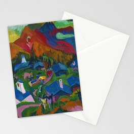 Return of the Animals Mountain Village Landscape painting by Ernst Ludwig Kirchner Stationery Cards