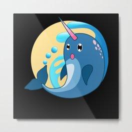 narwhal, narwhal whale, narwhal cute animal Metal Print
