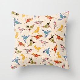 Vintage Wallpaper Birds Throw Pillow