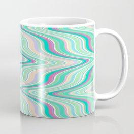 Seafoam soft green blue infinite ikat pattern, old style wavy chevron  Coffee Mug