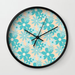 Aquamarine Retro Floral Pattern Wall Clock