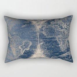 Antique World Map Gold Navy Blue Library Rectangular Pillow
