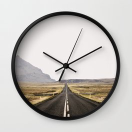 Lost Highway - Iceland Landscape, Travel Photography Wall Clock