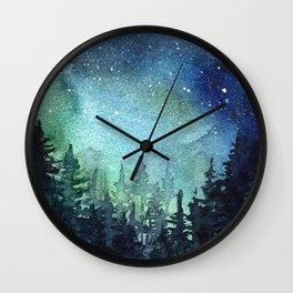 Galaxy Watercolor Aurora Borealis Painting Wall Clock