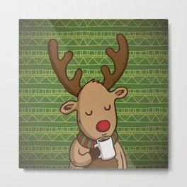 Christmas Deer Enjoying with Coffee Metal Print
