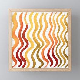 Wavy lines - autumn palette Framed Mini Art Print