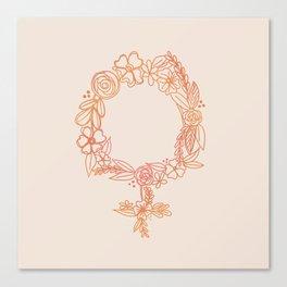 Floral Feminist Ombre Canvas Print