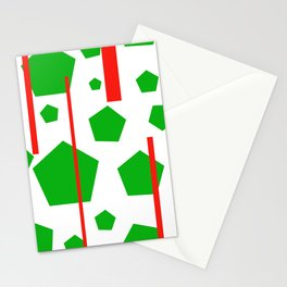 Green Pentagons Stripes Stationery Cards