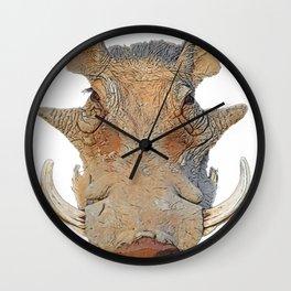 Warthog Phacochoerus Face Mammal Horrid Crushed Doormat Texture Wall Clock