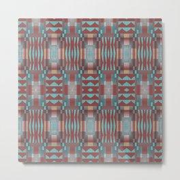 Coral Red Brown Aqua Turquoise Mosaic Pattern Metal Print