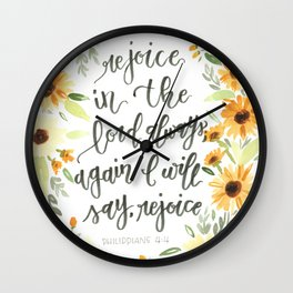 watercolor sunflowers Bible verse /// rejoice in the Lord always Wall Clock