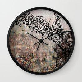 Rope Bridge - Mixed Media Acrylic Alcohol Ink Abstract Modern Art, 2015 Wall Clock