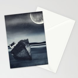 Moonlit Wreck - Stranded Ship Wreck on a Beach at Night Stationery Cards