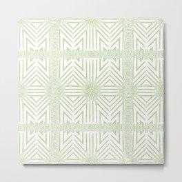 Nappy Faux Velvet Framed Wicker Repeat in Lime Reversed Metal Print