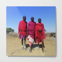 3 African Men from the Maasai Mara Metal Print