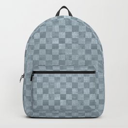Checkered Steel Blue Grunge Pattern Backpack