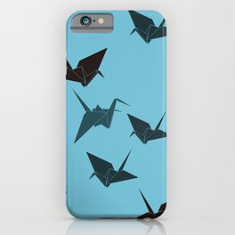 Blue origami cranes iPhone Case
