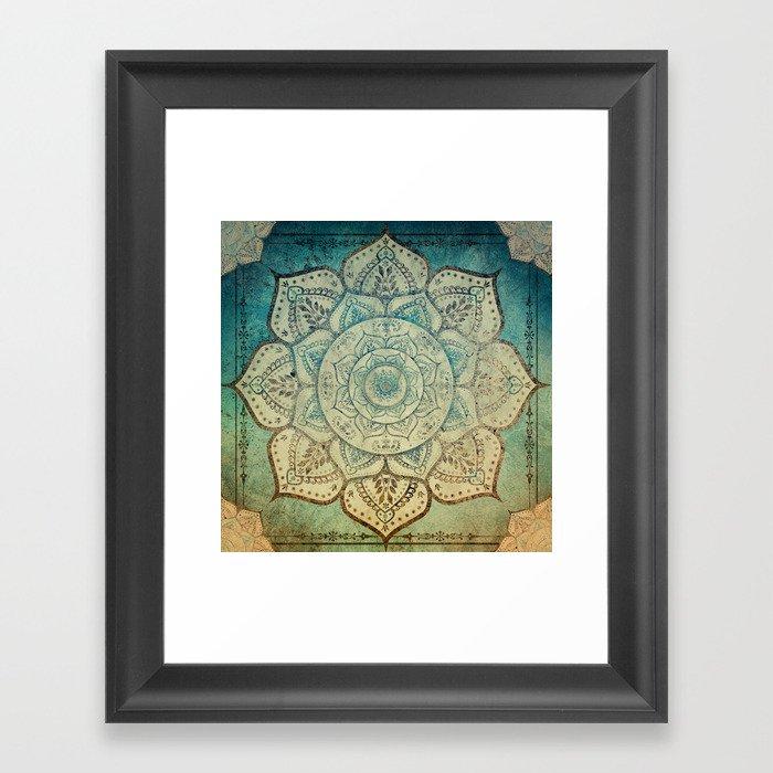 Faded Bohemian Mandala Gerahmter Kunstdruck