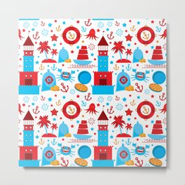 pattern with sea icons on white background. Seamless pattern. Red and blue Metal Print