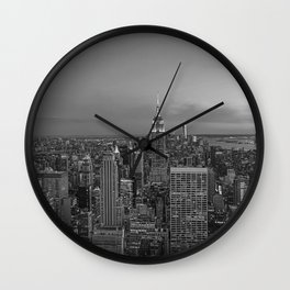 Manhattan sunset. Black and white photo Wall Clock