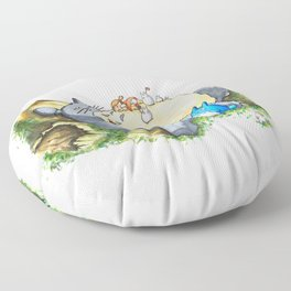 Ghibli forest illustration Floor Pillow