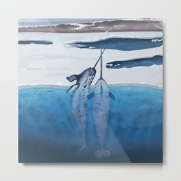 Narwhals emerging from cold ocean Metal Print
