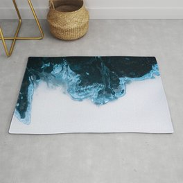 Abstract Aerial Lake in Iceland – Minimalist Landscape Photography Rug