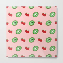 Strawberry and Kiwifruit Bright Pattern Metal Print