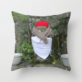 jizo with buckets and bibs Throw Pillow