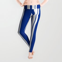 White and blue striped . Leggings