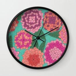 Beautifal Dahlia Garden Wall Clock