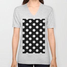 Polka Dot (White & Black Pattern) Unisex V-Neck