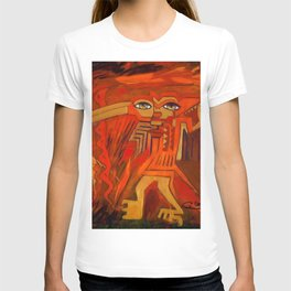Indigenous Inca Ceremonial Shaman and Firebird portrait painting by Ortega Maila T-shirt