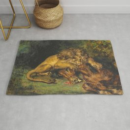 """Eugène Delacroix """"Lion dévorant un cheval"""" Rug"""